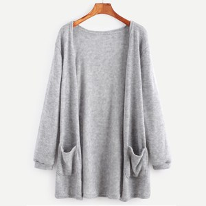 Cheap price Hot sale pocket casual knitting cardigan lady sweater coat