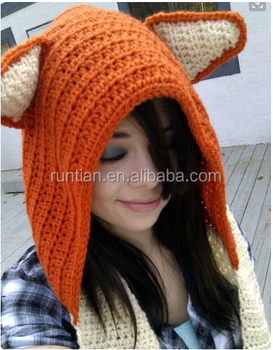 Hot Selling Soft Chunky Knitting Crochet Fox Animal Hoodie Scarf Hat ... 0a971b03965