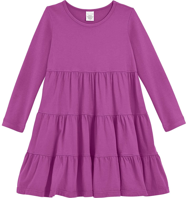 ec310f4c79 Get Quotations · City Threads Girls' Super Soft Cotton Long Sleeve Tiered  Dress Princess