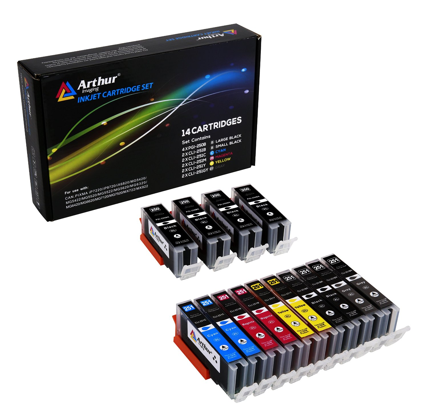Arthur Imaging Compatible Ink Cartridge Replacement for Canon PGI-250XL CLI-251XL (4 Large Black, 2 Small Black, 2 Cyan, 2 Yellow, 2 Magenta, 2 Gray, 14-Pack)