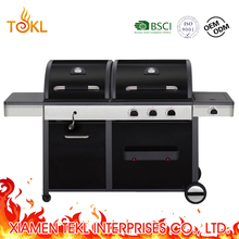 Outdoor Combo BBQ Commercial Gas Charcoal Grill Gas Ignition Chicken Machines