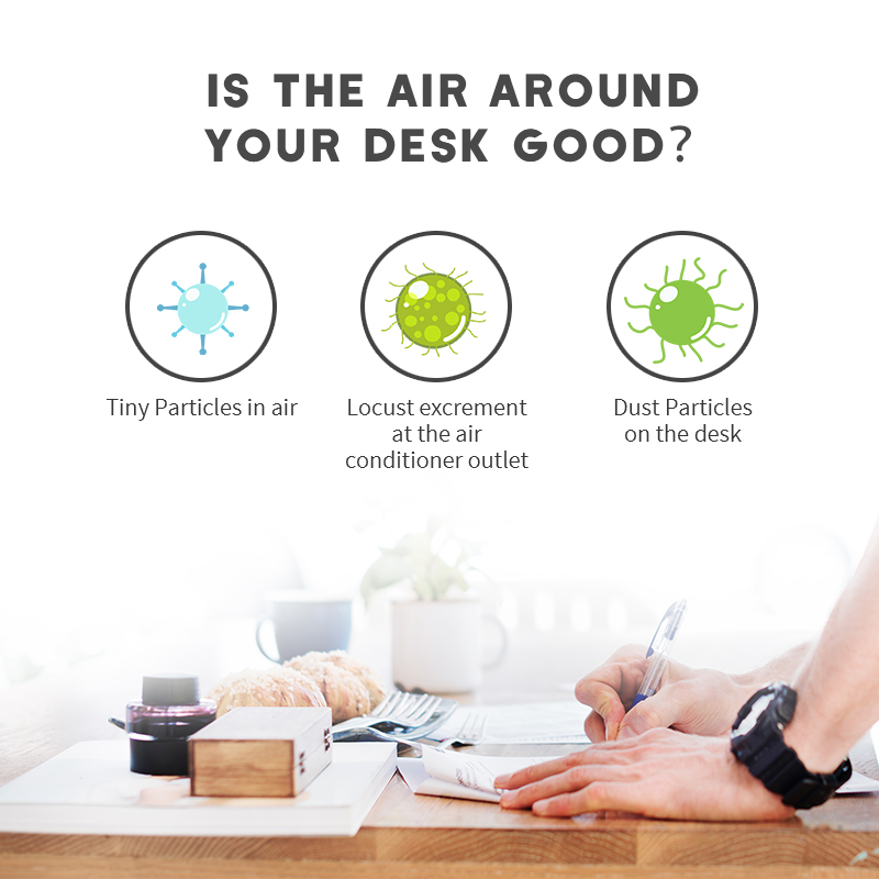 Factory manufacturer H13 hepa filter Round mini desktop air cleaner with usb plug