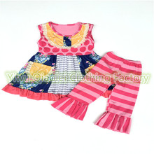 Ruffle baby outfits suppliers boutiques vintage kids clothes Yiwu Qiaolei Clothing Factory