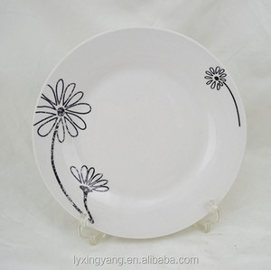 Cheap Chinese ceramic black circle plate dishe/restaurant serving plate microwave safe