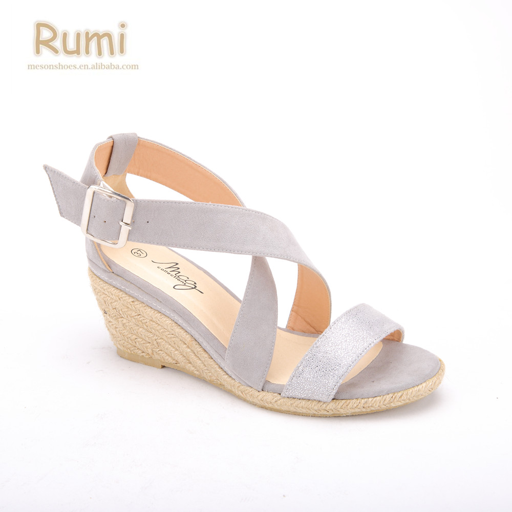 Silver 2 Inch Heel Wedge Sandals Shoes