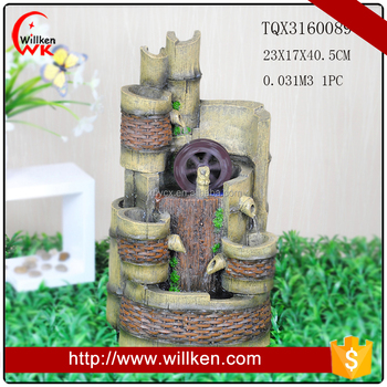 Polyresin resin windmill fountain with LED light