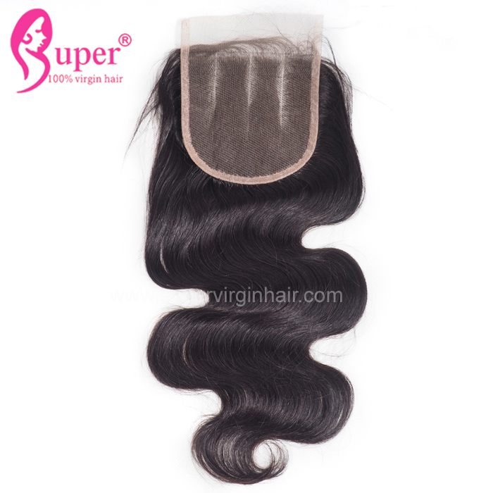 3 Way Part Parting Grade 8A Body Wave Swiss Lace Closure 4*4 Lace Normal Size Natural Pre Plucked Headline Hair Extensions