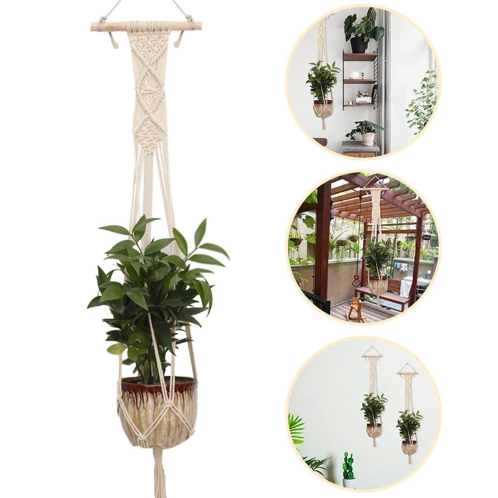 Macrame Plant Hanger,Sundlight Handmade Cotton Rope Woven Hanger Holder Flower Baskets Hanging Planter Wall Art for Indoor Outdoor Garden Office Home Decor