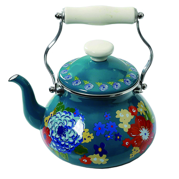 Custom green flower coffee metal steel enamel coated kettle teapot