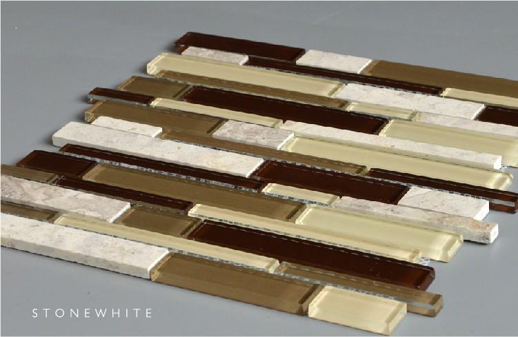 Beige marble random mosaic tiles strips sheets