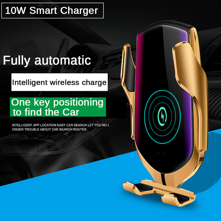 Universal Infrared sensor smart automatic clamp QI 10W car air vent clip stand mobile phone wireless fast holder charger