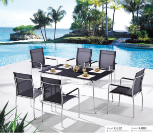 outdoor garden stainless steel furniture dining set PK904