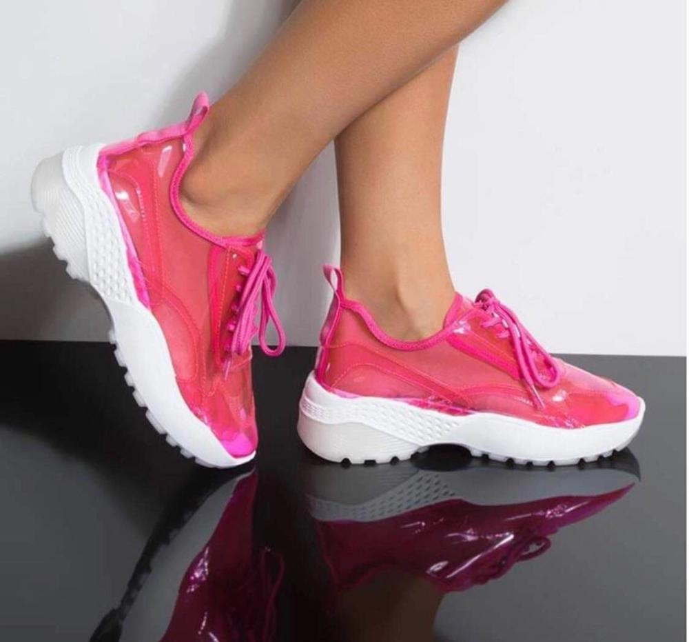 White summer casual sport wedge private label comfortable pvc injection sneakers women