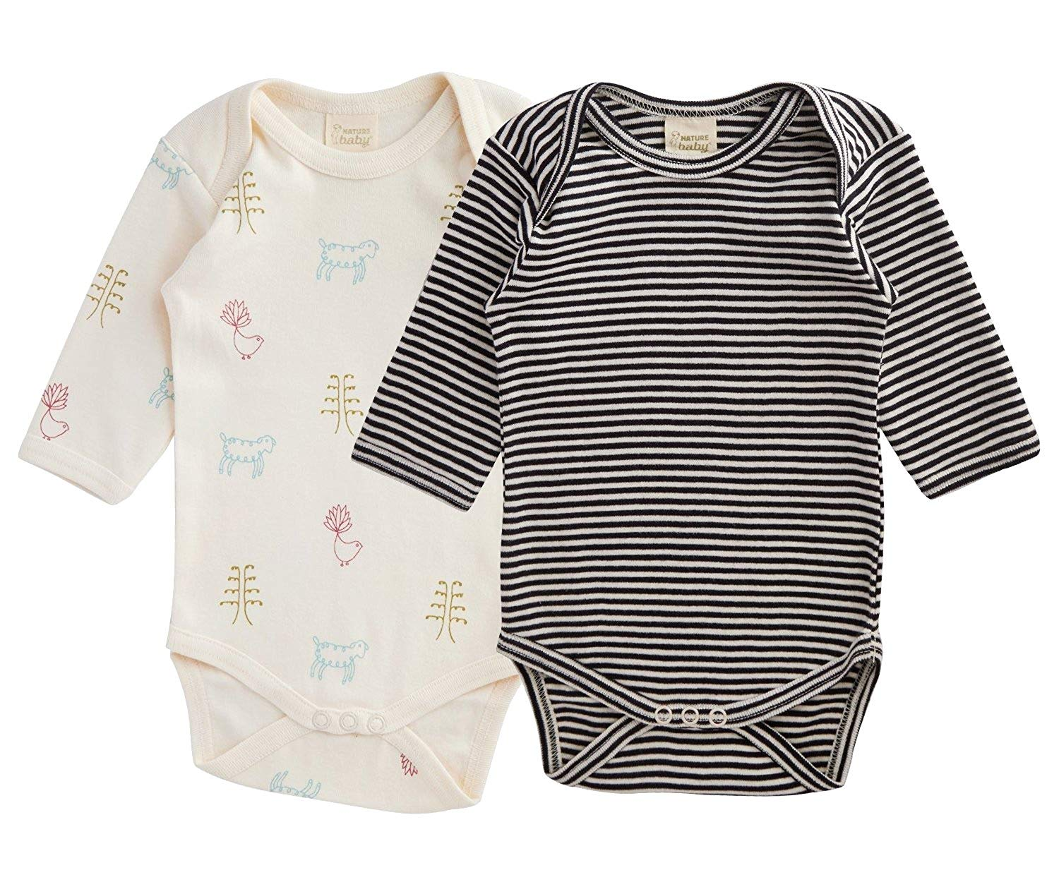 Nature Baby Organic Cotton Long-Sleeved Bodysuit 2-Pack