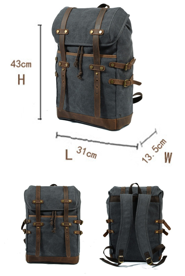 High quality wholesale retro unisex outdoor waxed canvas waterproof rucksack back pack bagpack bag 2018