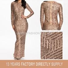 2016 New Fashion Lady Long Sleeve Shiny Gold Sequin Women Maxi Evening Dress