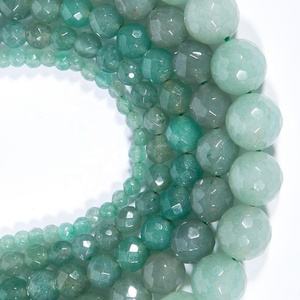 Natural Green Aventurine Cutting Faceted Beads Well Polished Round Loose Beads for Jewelry Making, Factory Wholesale