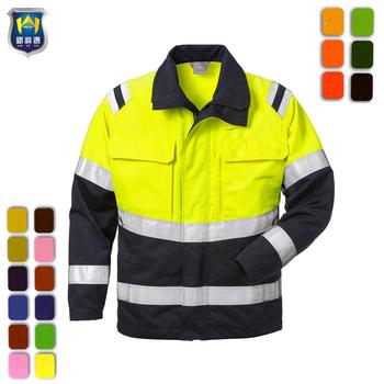 Fluorescent High Vis Vest Waistcoat Work Safety Visibility Fabric Fasten Unisex