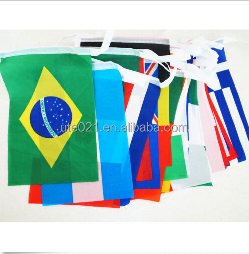 One SET 2014 Brazil World Cup Football Bunting 32 national teams Flags