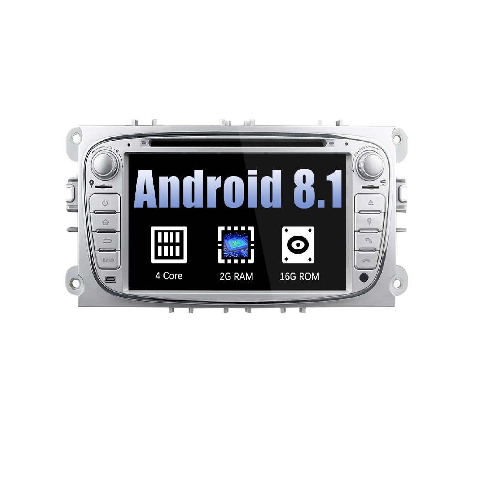 Eunavi 2 Din Android 8.1 Sliver Quad Core Auto DVD Radio Stereo Speler Voor Ford Focus Mondeo S-Max cmax Galaxy 3G WIFI AUX Audio