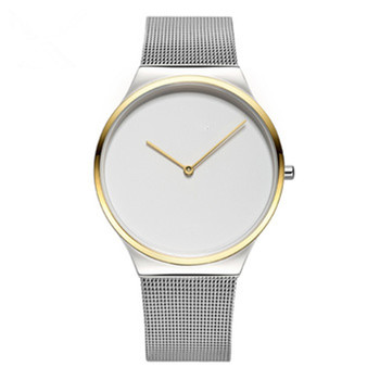 Minimalist watches stainless steel domed sapphire glass genuine leather strap for promotion