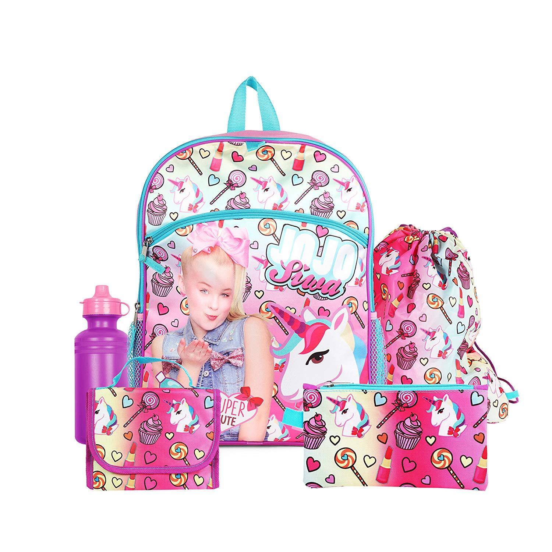 "Nickelodeon JoJo Siwa Pink 16"" Backpack School Essentials Set for Girls"
