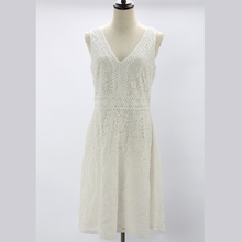 Factory OEM Style Sleeveless V-Neck Summer Women Lace White Dress