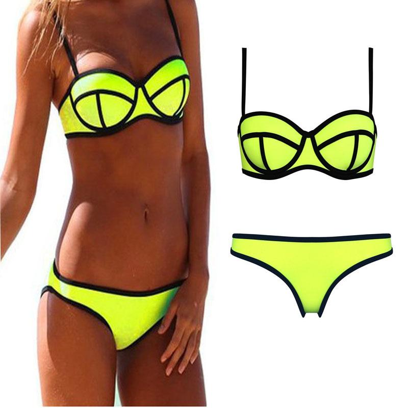 Pink green bikini