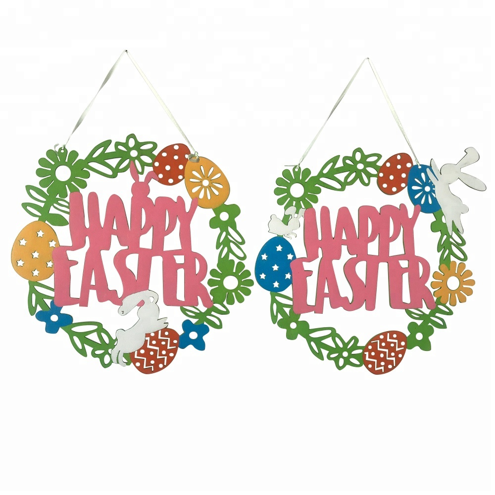 Happy Easter spring bunny Wooden hanging sign decoration