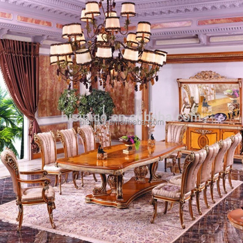 Luxury French Style Gold Leaf Dining Room Furniture Baroque Palace Marquetry Super Long