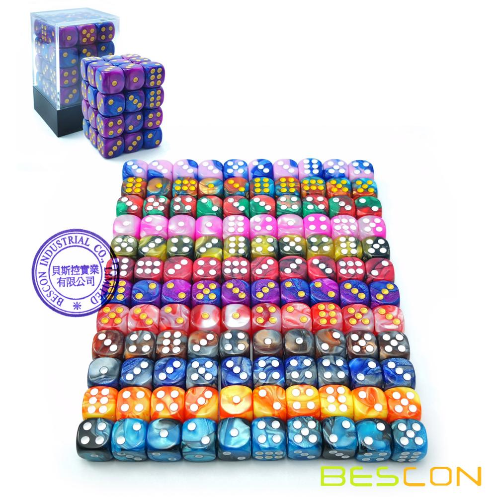 Bescon 12mm 6 Sided Dice 36 in Brick Box, 12mm Six Sided Die (36) Block of Dice, Gemini Effect in All Assorted Colors фото