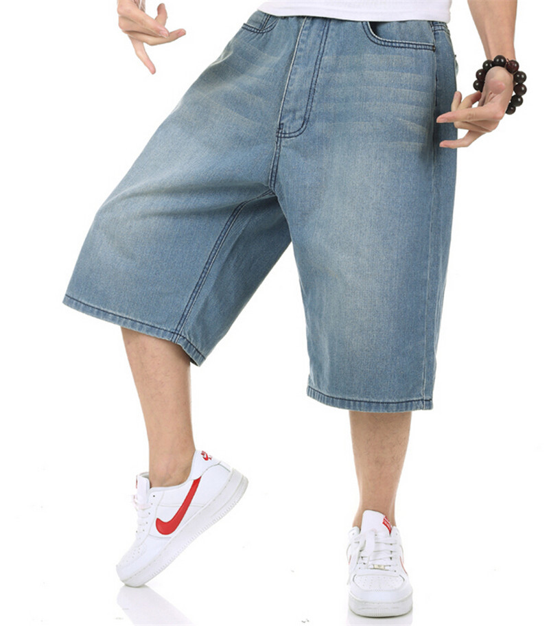 Buy Summer Mens Baggy Jeans Big Size Loose Pants Boy  39 s Hip Hop Short  Jeans Calf Length European American Syle Trousers Blue Large in Cheap Price  on ... b56fe0d44191