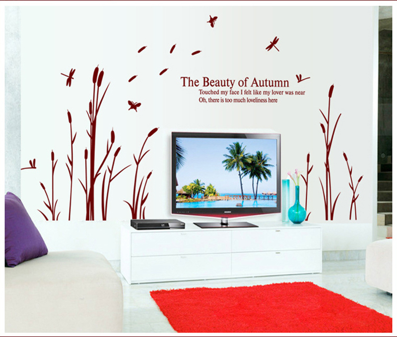 Hall Bedroom Background Decorative Wall Decals Warm Reed Wallpaper adesivo de parede  Wall Stickers Home Decor Free Shipping