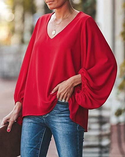 Fall Wanita Desain Elegan Puff Lengan Panjang Santai Merah Atasan Blus Sifon