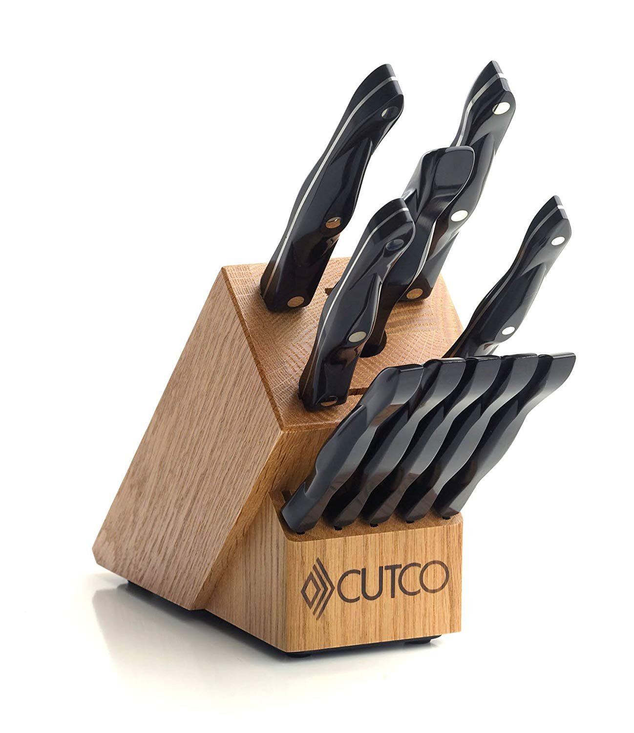 "CUTCO Model 1945 Essentials +5 Set with Honey Oak Knife Block.....................9 High Carbon Stainless knives and one fork with Classic Dark Brown handles (often called ""Black"")"