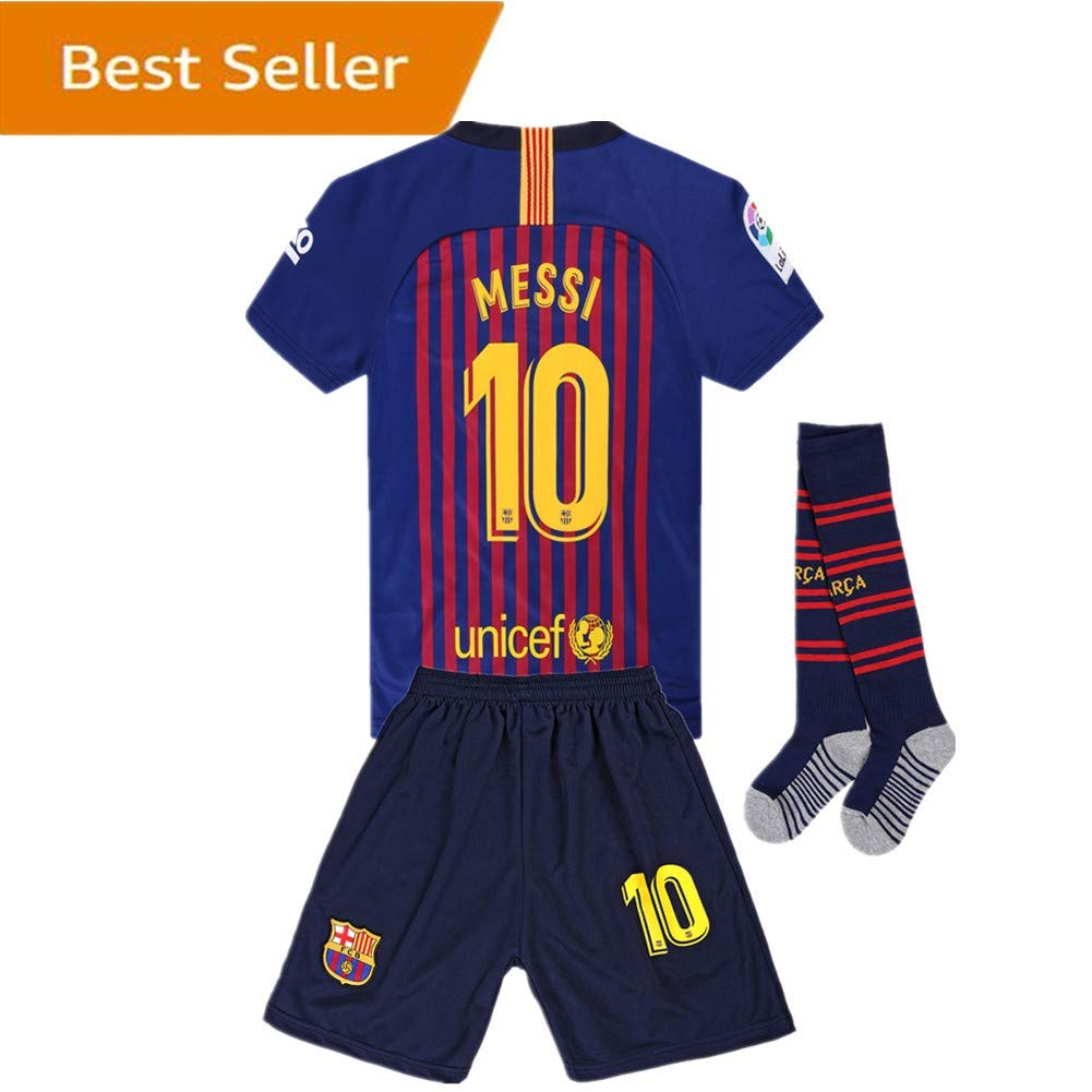 0fdf01ecf4e Get Quotations · Newkidsjs Barcelona #10 Messi Kids and Youth Soccer Jersey  & Shorts & Socks 2018-