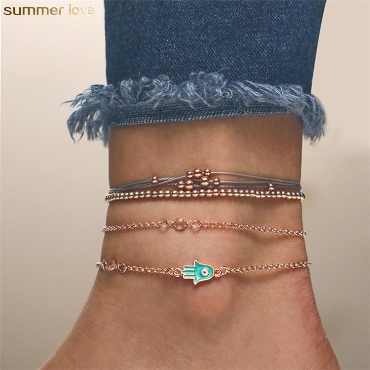 Unique Design Anklets Foot Jewelry Set Blue Hamsa Pendant Bead Bracelets Barefoot Anklet for Women Girls Summer Holiday