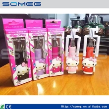 Nuevo Wired Control Perche Cartón Lindo Hello Kitty Selfie Palo Universal Monopod para el iphone 6 Enchufe iOS/Android Smartphone