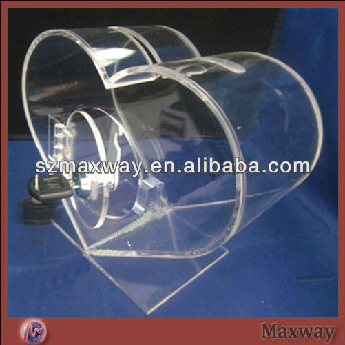Clear Heart-shape Acrylic Donation Boxes With Locks