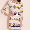 lace spilt join floral printed slim fit tunic long sleeve o-neck dress for 2013 summer fashion design women girls