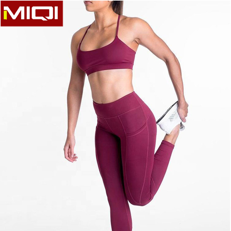 Wholesale Sportswear OEM High Waist Legging And Sport Bra Set Custom Fitness Women Athletic Wear