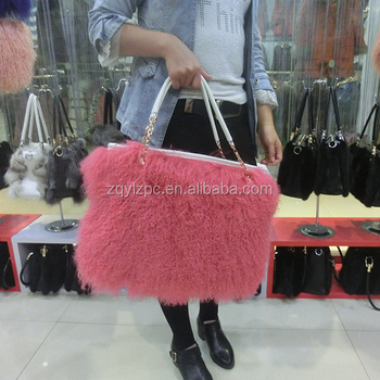 63e47782bafa China wholesale genuine leather sheep bag Mongolian lamb real fur handbags  for women