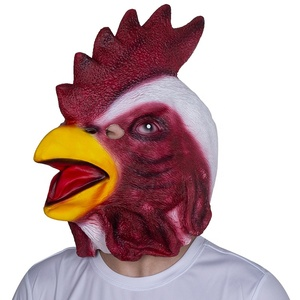 Realistic full head Red Animal Latex Mask Novelty Chicken Overhead cock mask