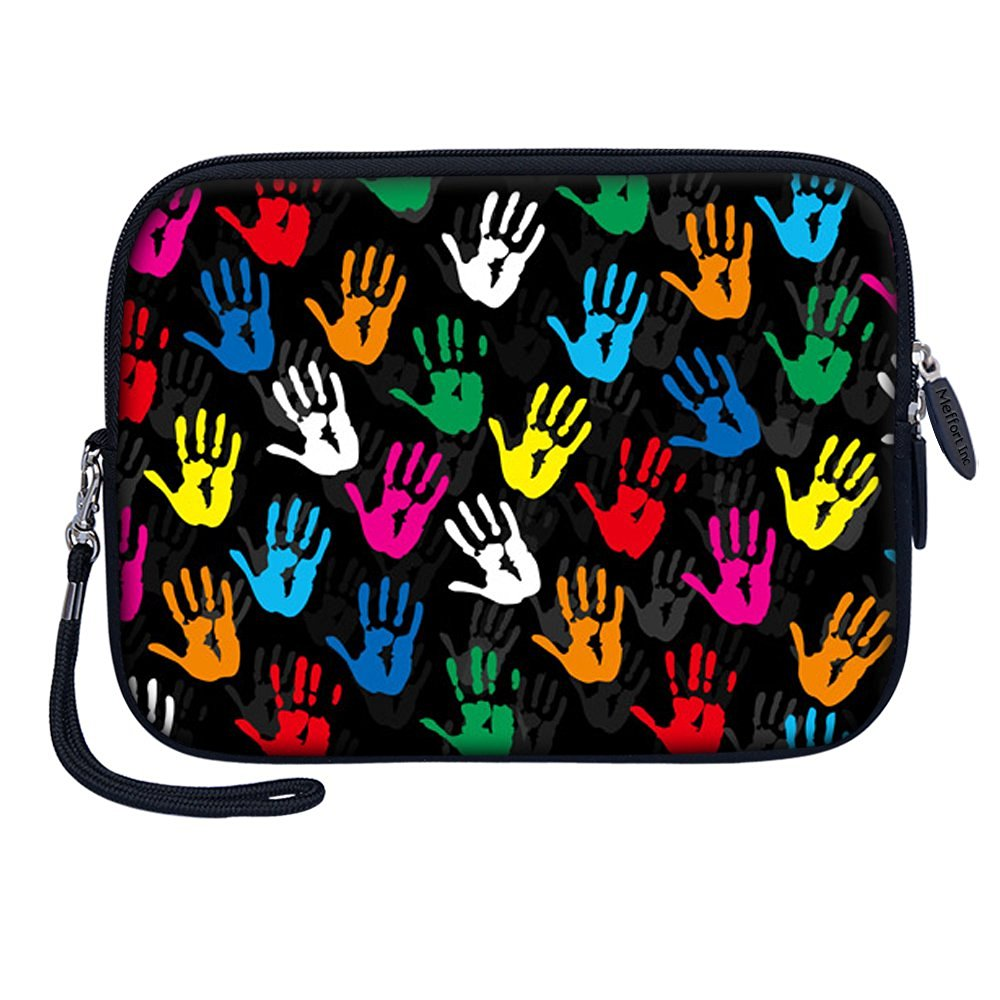 "Meffort Inc 7 inch Tablet Carrying Case Sleeve Bag w Removable Handle for most 6"" 7"" 8"" Tablet eBook - Colorful Hands"