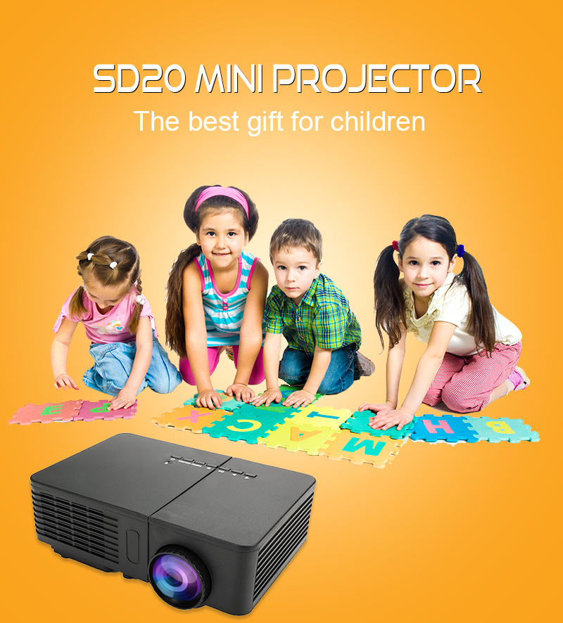 New SD20 iphone Projector , Cheapest Mini Multi-media Portable Video Projector 1080p Home Theater Beam Projector