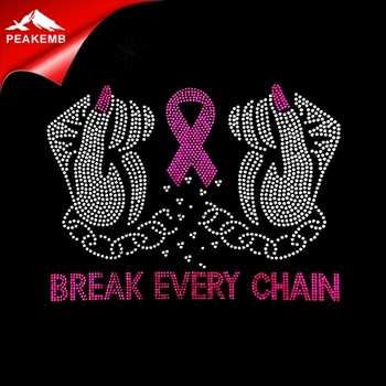 Wholesale Hotfix Pink Breast Cancer Rhinestone Motif Transfers