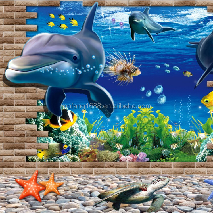 Dolphin And Sea Fish Wall Paper 3d Undersea Wallpaper Nature