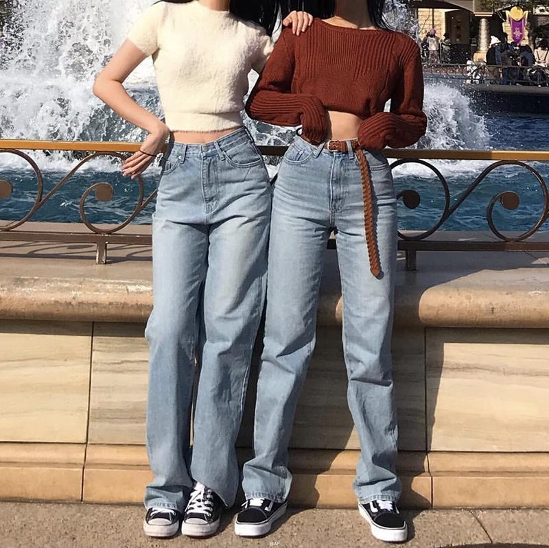 Wholesale newest high waist wide leg boyfriend style fashion women loose long straight denim jeans фото