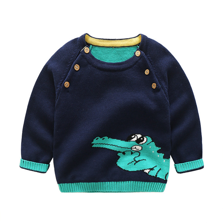 Hot Sale Infant Boys Wear Knitted cotton Pullovers Outerwear Baby Crocodile pattern Sweater