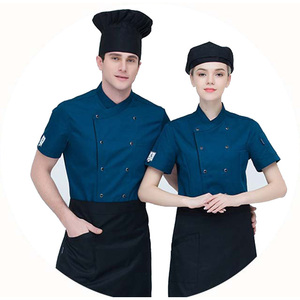 Chef wears short-sleeved hotel restaurant catering shop work clothing